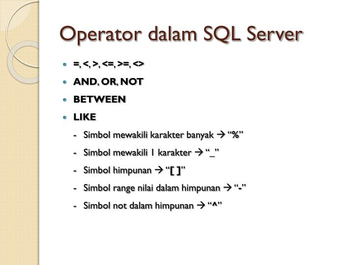 Operator dalam SQL Server