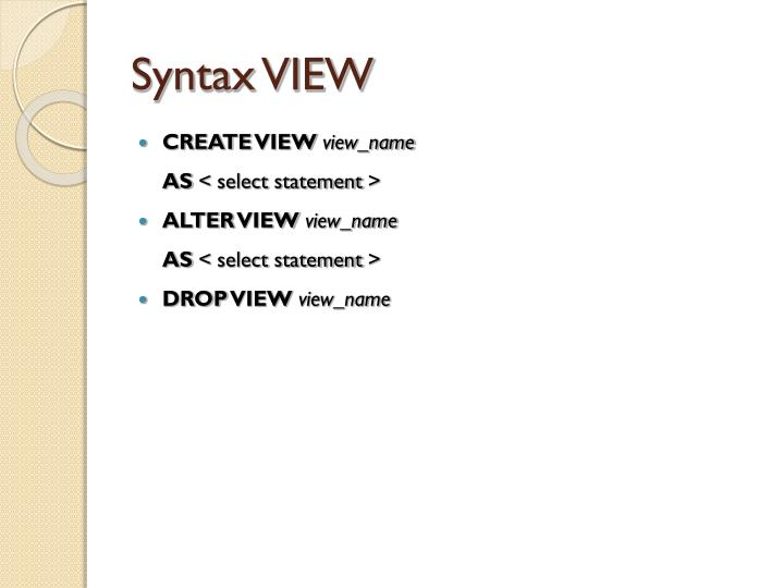 Syntax VIEW