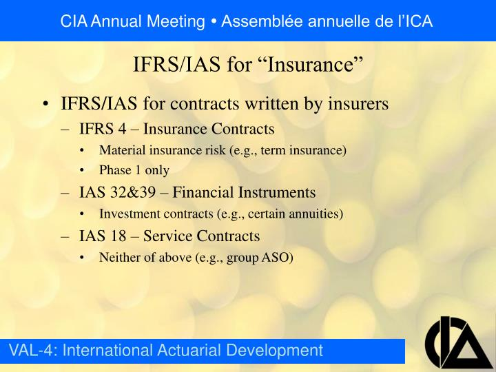 IFRS/IAS for contracts written by insurers