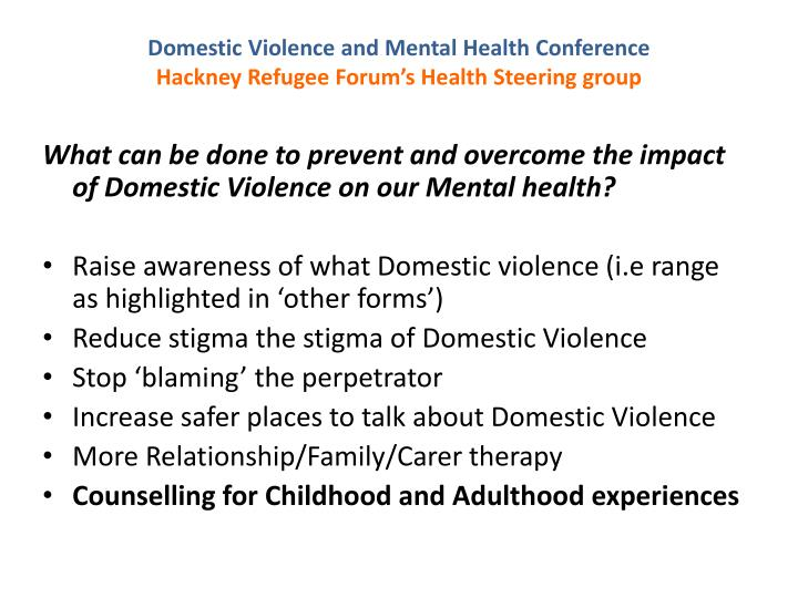 Domestic Violence and Mental Health Conference