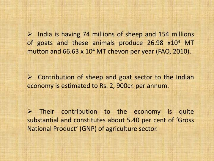 India is having 74 millions of sheep and 154 millions of goats and these animals produce 26.98 x10