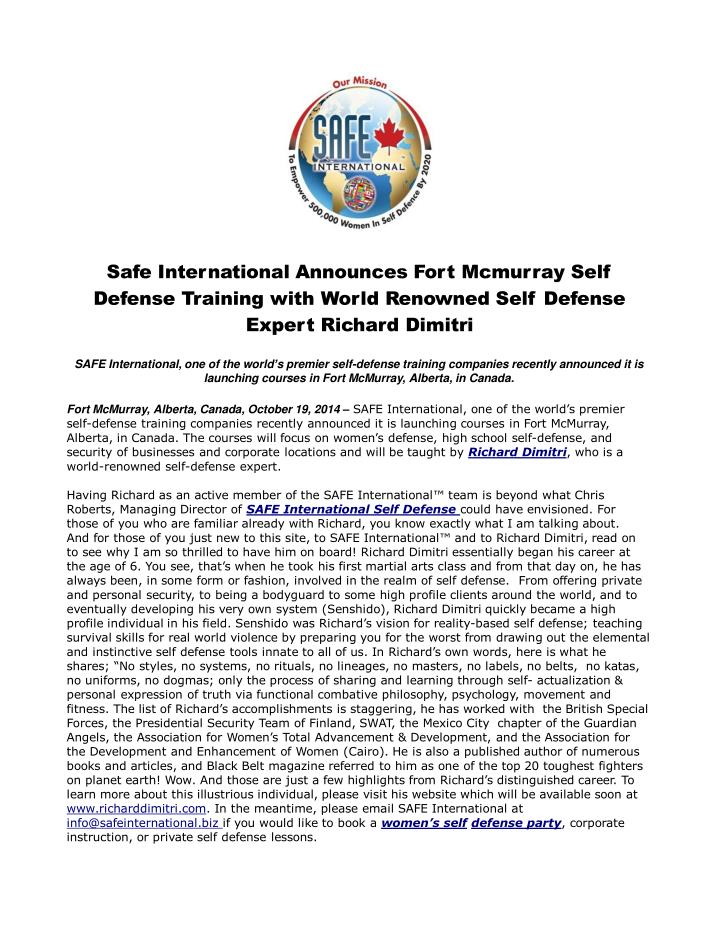 Safe international announces fort mcmurray self defense trai