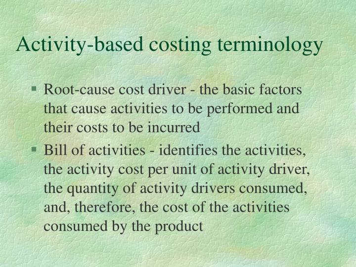 Activity-based costing terminology