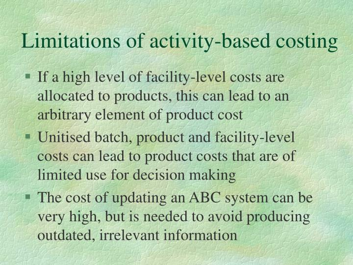 Limitations of activity-based costing