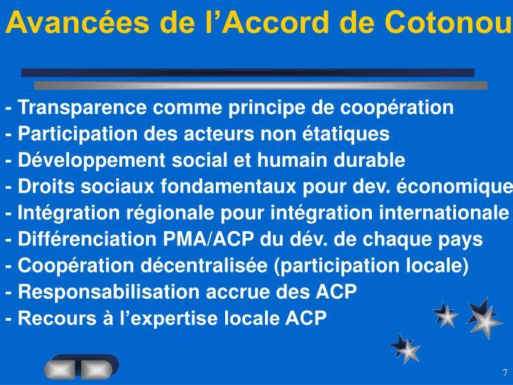 Avancées de l'Accord de Cotonou
