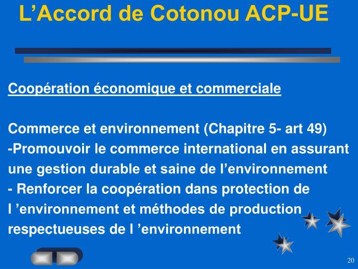 L'Accord de Cotonou ACP-UE