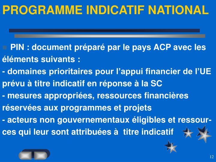 PROGRAMME INDICATIF NATIONAL