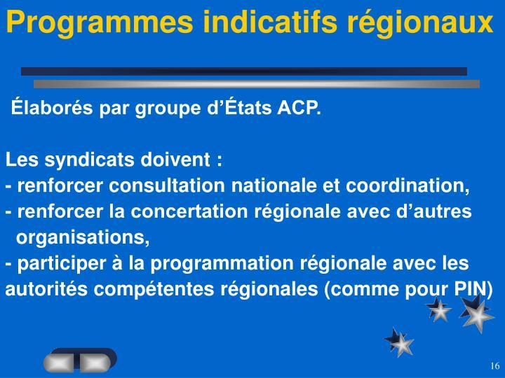 Programmes indicatifs régionaux