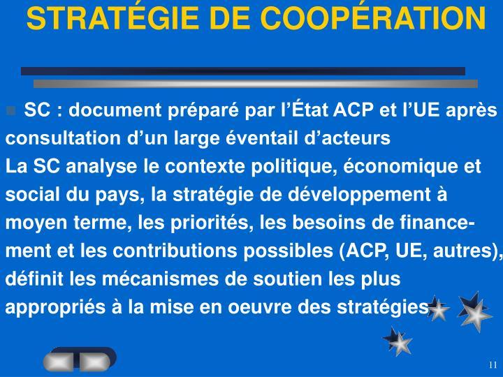 STRATÉGIE DE COOPÉRATION
