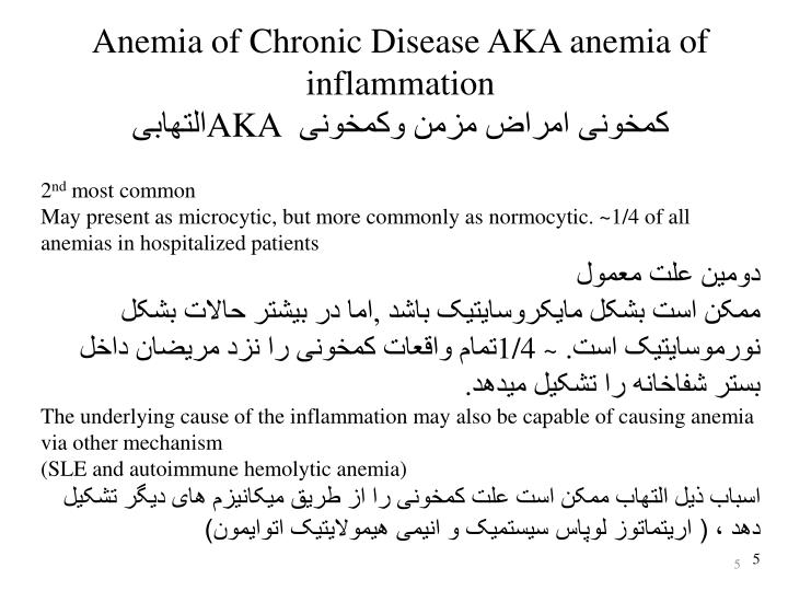 Anemia of Chronic Disease AKA anemia of inflammation