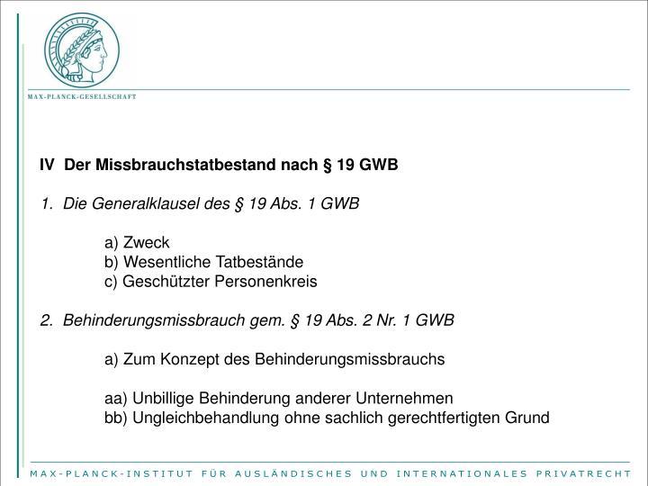 IV  Der Missbrauchstatbestand nach § 19 GWB