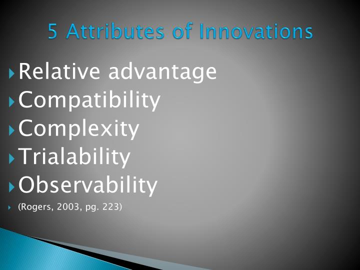 5 Attributes of Innovations