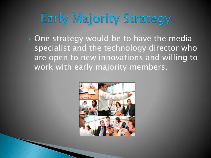 One strategy would be to have the media specialist and the technology director who are open to new innovations and willing to work with early majority members.