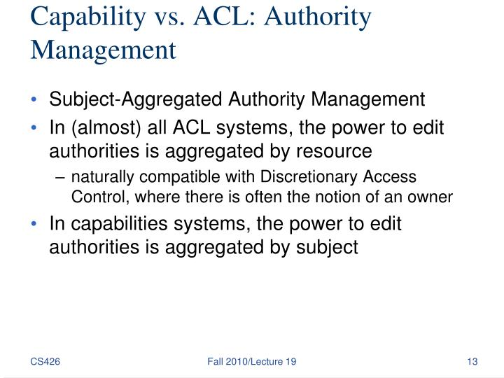 Capability vs. ACL: Authority Management