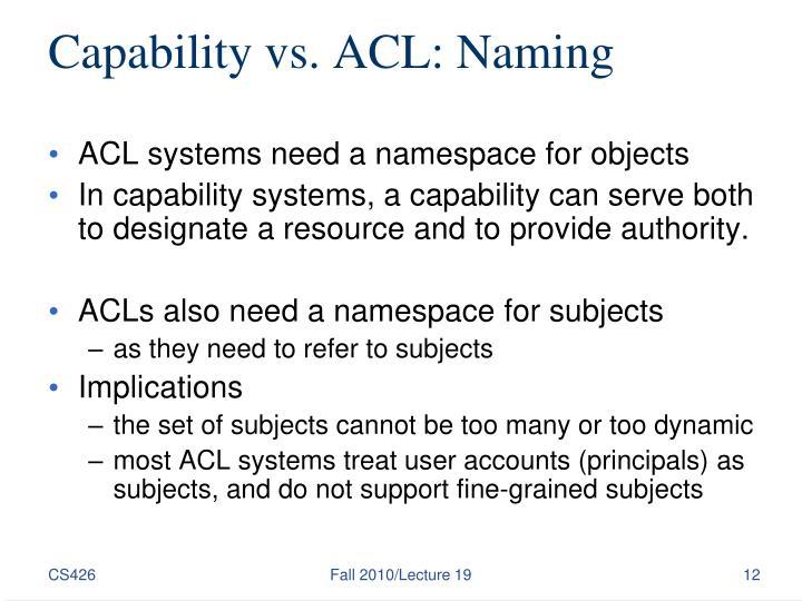 Capability vs. ACL: Naming