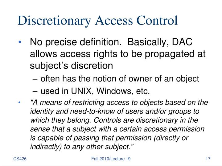 Discretionary Access Control