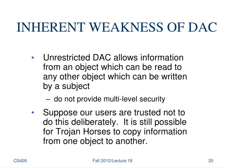 INHERENT WEAKNESS OF DAC