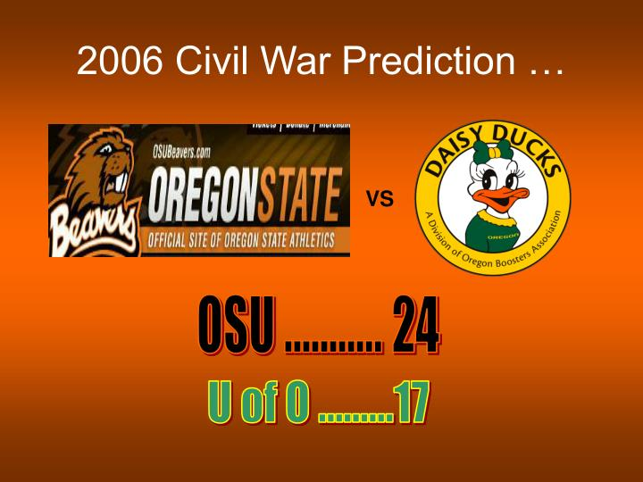 2006 Civil War Prediction …