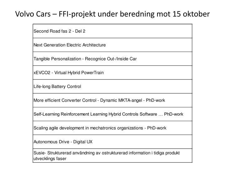 Volvo Cars – FFI-projekt under beredning mot 15