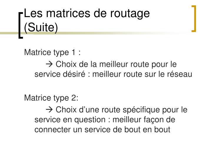 Les matrices de routage (Suite)