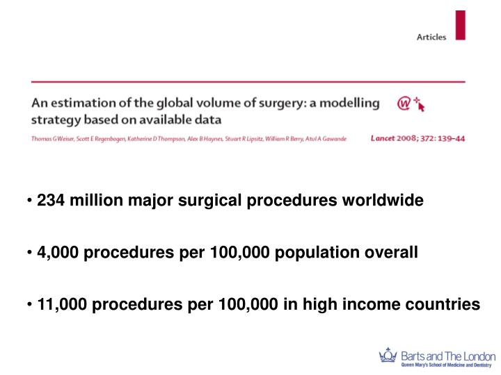 234 million major surgical procedures worldwide