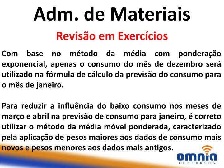 Adm. de Materiais
