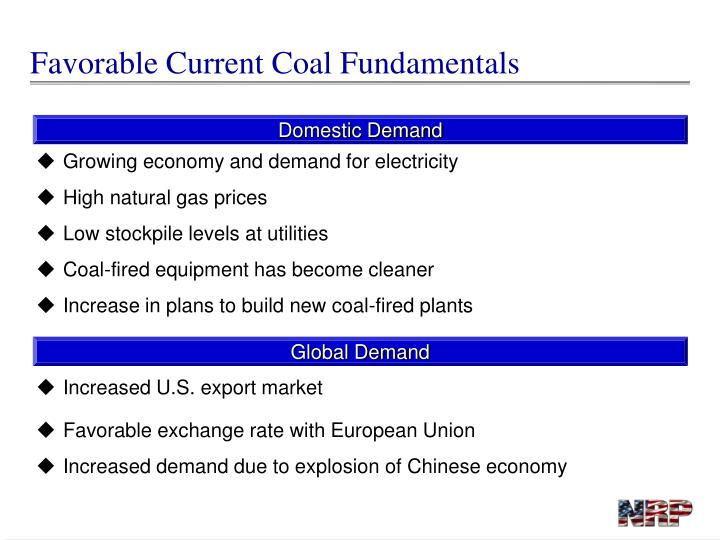 Favorable Current Coal Fundamentals