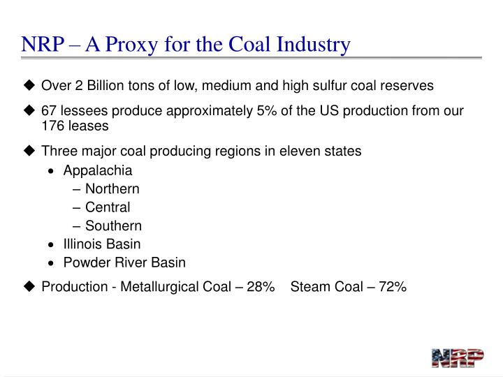 NRP – A Proxy for the Coal Industry