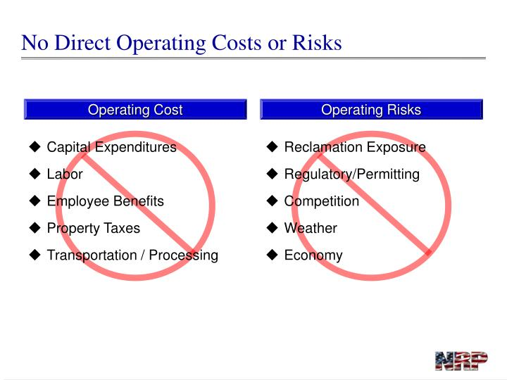 No Direct Operating Costs or Risks