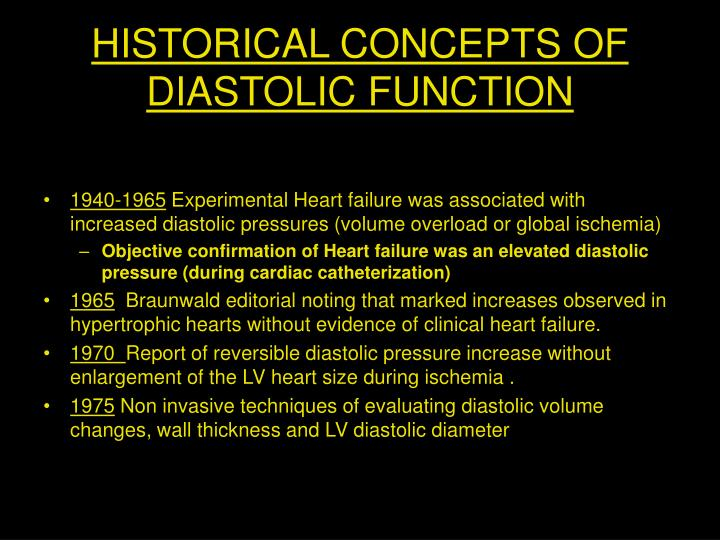 HISTORICAL CONCEPTS OF DIASTOLIC FUNCTION