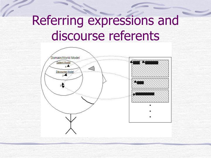 Referring expressions and discourse referents