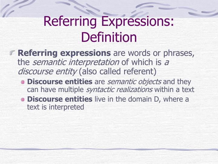 Referring expressions definition