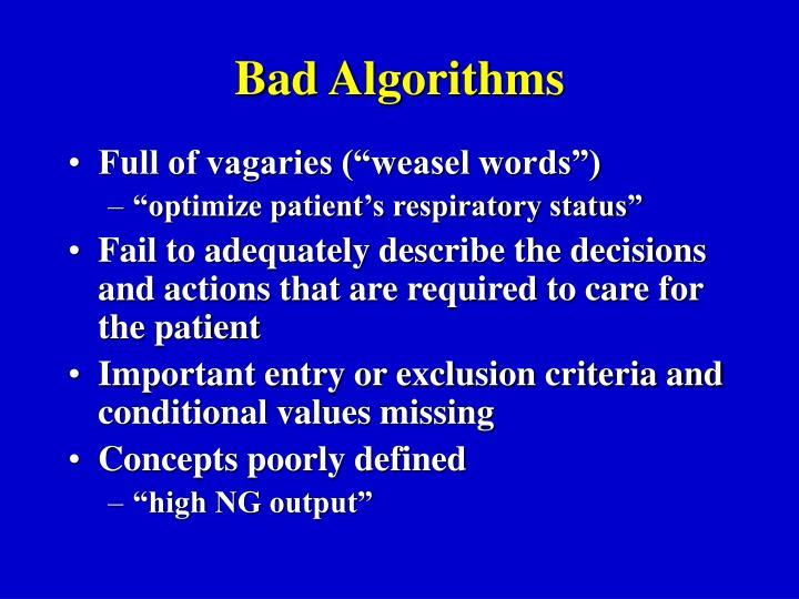 Bad Algorithms