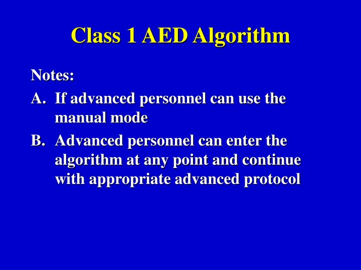 Class 1 AED Algorithm