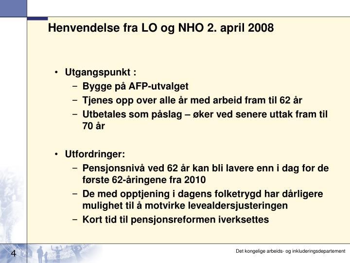 Henvendelse fra LO og NHO 2. april 2008