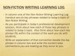 non fiction writing learning log
