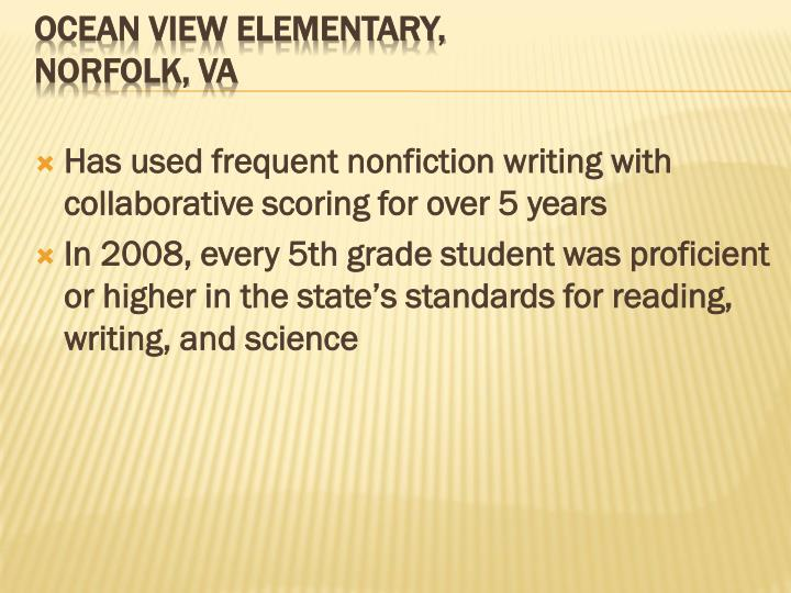 Has used frequent nonfiction writing with collaborative scoring for over 5 years