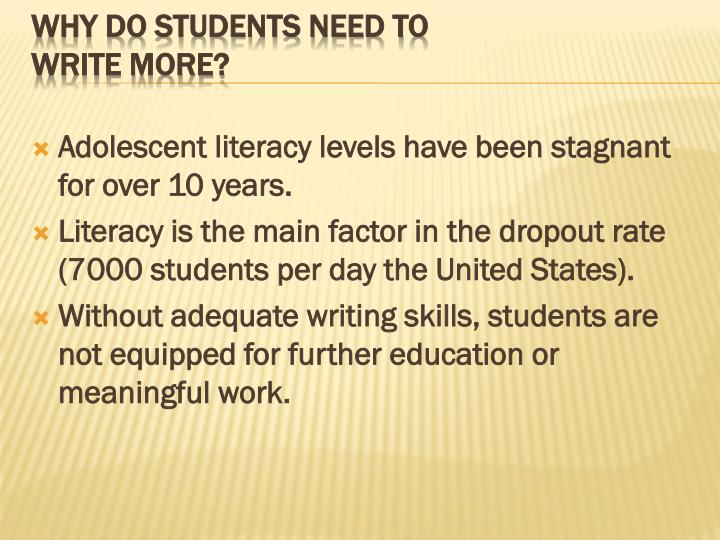 Adolescent literacy levels have been stagnant for over 10 years.