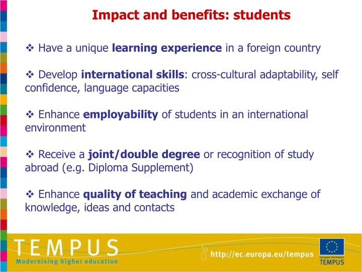 Impact and benefits: students