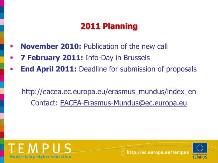2011 Planning