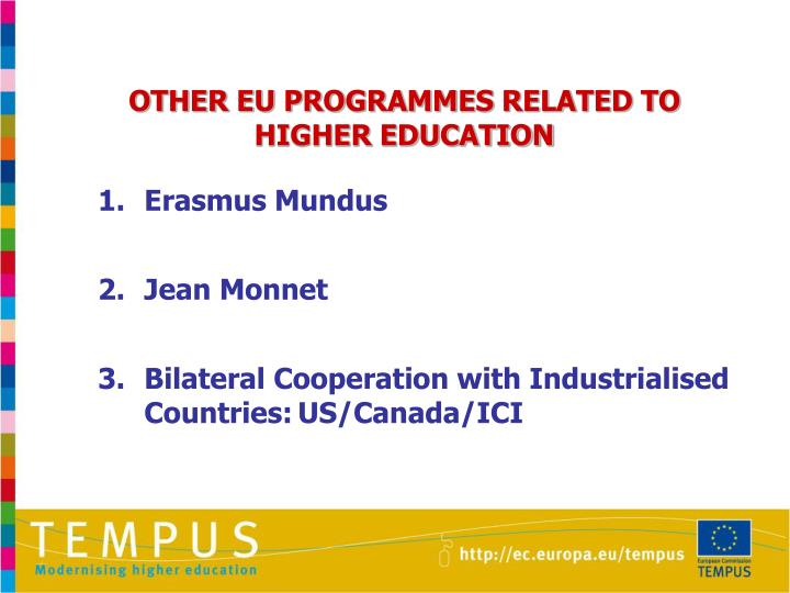 OTHER EU PROGRAMMES RELATED TO HIGHER EDUCATION