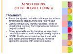 minor burns first degree burns