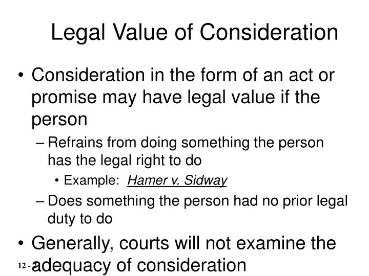 Legal Value of Consideration