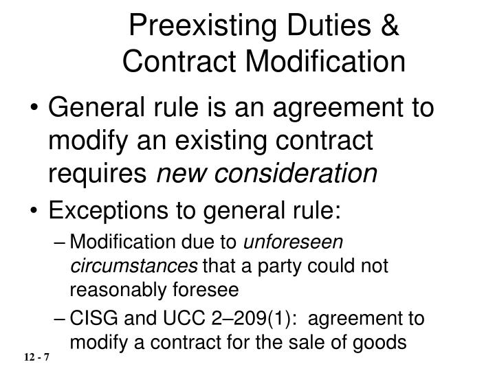 Preexisting Duties &