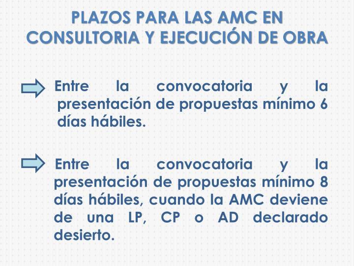 PLAZOS PARA LAS AMC EN CONSULTORIA Y EJECUCIÓN DE OBRA