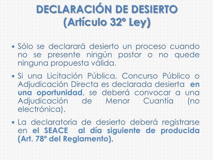 DECLARACIÓN DE DESIERTO