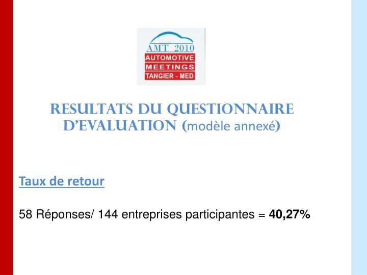 RESULTATS DU QUESTIONNAIRE D'EVALUATION (