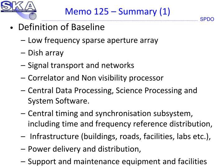 Memo 125 – Summary (1)
