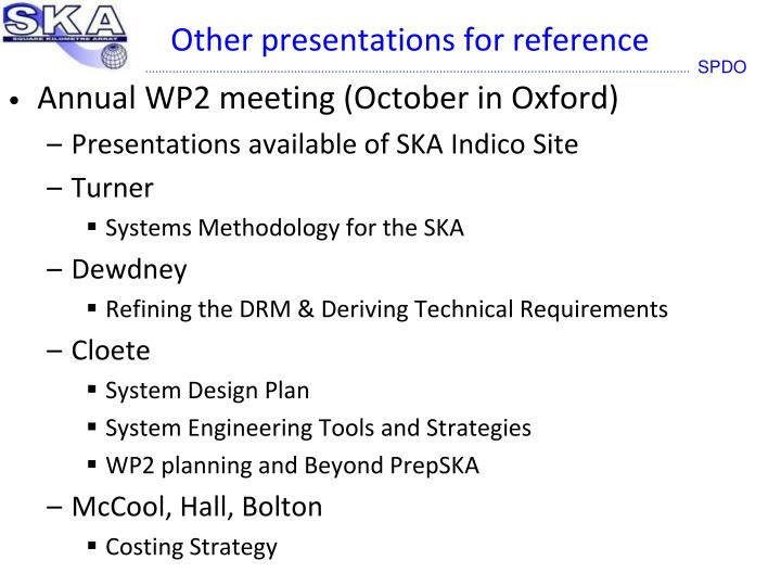 Other presentations for reference