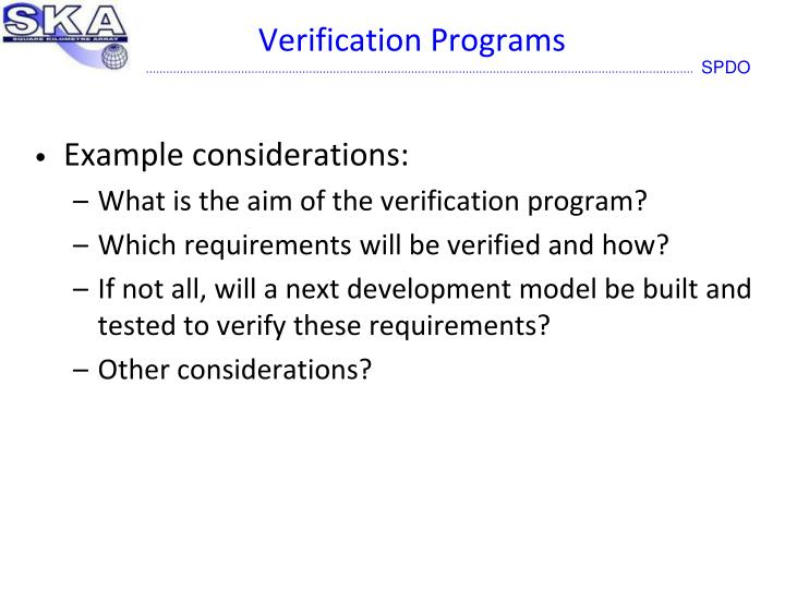 Verification Programs